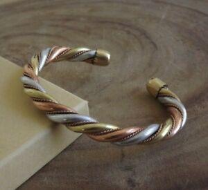 Solid Copper Heavy Twist Cuffed Health Bracelet - Men Women Tri Tone Bracelet