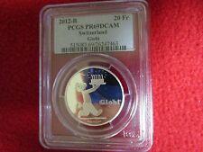2012-B Switzerland 20 Francs Silver PROOF GLOBI 80th Cartoon PCGS PR PF 69 swiss