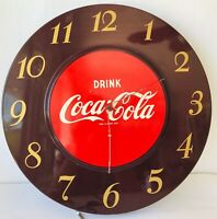 "Coke Wall Clock Drink Coca Cola 18"" Round Metal Vintage 1950s GE Model 608"