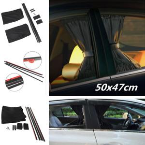 50x47cm 2pcs Black Adjustable VIP Car Window Mesh Interlock Curtain UV Sunshade