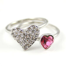 Rose Pink Heart Stack Rings Made with Swarovski Elements Diamante Heart Rings