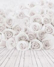 Rose Blanche plancher de bois bébé Toile de Fond Fond Vinyle Photo Prop 5X7FT 150x220CM