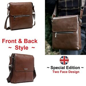 Smart Leather Brown Bag Daily Need ~ Two Face Design ~ Men Everyday Travel Bags