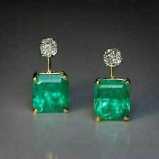 4.00CT Emerald Green Diamond 14K Yellow Gold Finish Stud English Lock Earrings