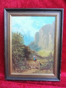 Pretty, Old Painting__Descent by The Mountain __Signed: Erdmann __