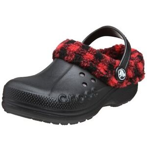 Crocs  Little Boys Lumberjack Plaid Red/Black Lined  Winter Crocs Size  8/9
