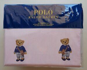 POLO Ralph Lauren Girl Teddy Bear QUEEN Pink Stripe Sheet Set Cotton 4 PCS NEW