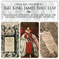 """1611 First Ed KING JAMES BIBLE """"Great He"""" FOLIO Old Testament Leaf OUR SELECTION"""