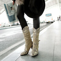 Womens Snake Print Western Cowboy Mid Calf Autumn Buckle PU Leather Winter Boots