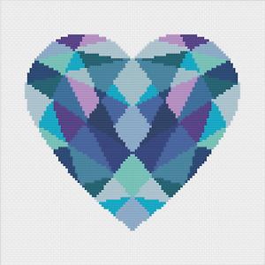 Geometric Heart Cross Stitch Pattern by Meloca Designs