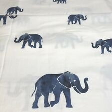 "Envogue Fabric Shower Curtain Blue Elephants on White 100% Cotton 72"" x 72"""