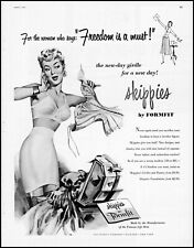 1954 Woman modeling Skippies Girdle Formfit Bra panties retro art print ad LA13