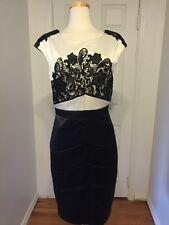 NWT JAX Black & White Lace Satin Cocktail Dress Sz 16