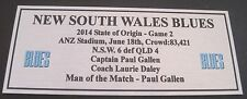 NRL NSW  State of Origin 2014 game 2 Silver  Plaque FREE POSTAGE
