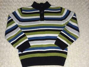 Gymboree 2012 Ice Hero Striped 1/4 Button Sweater Sz Medium 7 8 Green Blue Gray