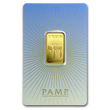 10 gr Gold Bar - PAMP Suisse Religious Series (Am Yisrael Chai!) - SKU #94451
