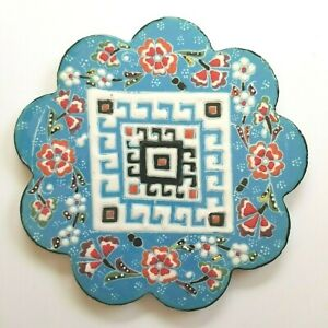 Trivet Turkish Handmade Ceramic Kitchen Hot Plate blue Flowers Mosaic NEW