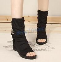 Womens Mid Calf Sandals Boots Flats Heel Peep Toe Gladiator Shoes Black Roman