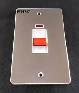 45A LONG TYPE DOUBLE POLE SWITCH + NEON. POLISHED CHROME. FLAT PLATE. COOKER SW