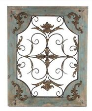 Rustic Turquoise Metal and Wood Wall Decor  Shabby Chic Decor Country Home Decor