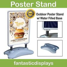 Outdoor Sidewalk Rolling Poster Sign Stand with Water Filled Base Wheels Street