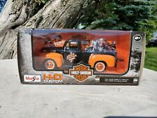 1948 Ford F-1 Pickup Truck Die-cast 1:24 Harley Davidson 8 inch Black w Orange