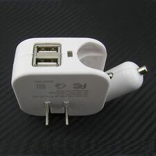 Dual 2 USB Port DC Cigarette Car Charger and Home Wall AC Adapter Plug 110V-240V