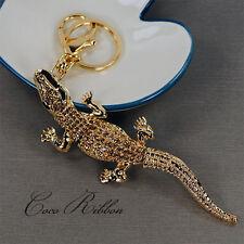 Gold Crocodile Alligator Rhinestone Crystal Handbag Keychain Key Ring Chain B11