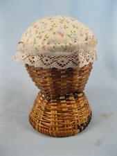 Pink & Blue Flowers With Green Leaves & Stems Pin Cushion On Wicker Stand (O)