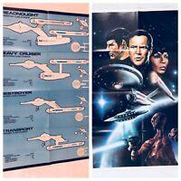 Star Trek 2 Sided Poster Spaceships Laserblast Captain Kirk Spock Foldable Vtg
