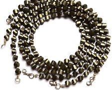 "Natural Gemstone Golden Pyrite Faceted 6MM Approx. Twisted Beads 17"" Necklace"