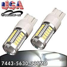 2x White 6000K 7443 7440 33-SMD Tail Brake Stop Backup Reverse LED Light Bulbs
