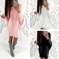 Women's Loose Sweater Long Sleeve Knitted Jumper Knitwear Casual Pullover Dress