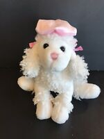 "white poodle plush dog stuffed animal soft toy pink hat 12"" tall"