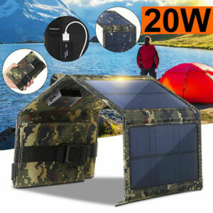 20W Solar Panel 4 Folding Portable Power Charger USB Camping Travel For Phone UK