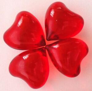 Translucent Red Hearts 0.17Oz/4.9g  Bath Oil Beads Rose Fragrance Bath Pearls