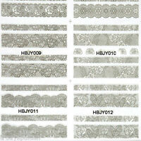 Nail Art Lace Stickers Decals Transfers Metallic Silver Lace Flowers Wedding