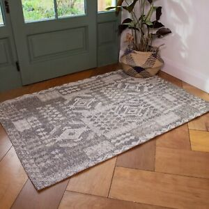 Beige Cream Rugs for Living Room Recycled Cotton Flatweave Patchwork CLEARANCE