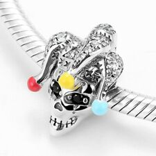 Creepy Clown REAL 925 Sterling Silver Charm Bead Spacer Gift Tennis Bracelet
