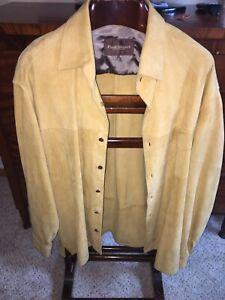 Paul Stuart Light brown Suede Leather Shirt Overshirt Size XL Rare!