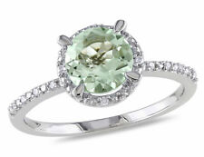 1.15 Carat (ctw) Green Amethyst Halo Ring Sterling Silver