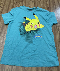 MEN Medium Green  Pikachu Pokémon Licensed ANIME SHIRT GREAT CONDITION