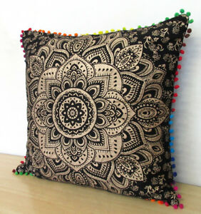"Large 24X24"" Square Black Gold Cushion Cover New Sofa Decorative Pillow Cover UK"