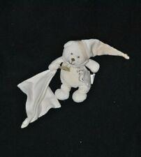 Peluche doudou ours coton bio blanc crème BABY'NAT bonnet mouchoir 13 cm TTBE