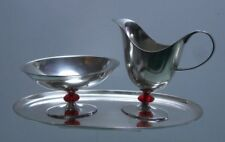 WMF Rahmservice rote Kugel Milch + Zucker absolute Rarität versilbert Art Deco
