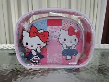 Hello Kitty Loungefly Patchwork Cosmetic Makeup Bag Set 2 piece NWT