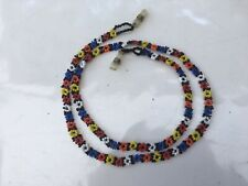 Beautiful 75cm Beaded Glasses Neck Holder Red Yellow Blue White Bead Flowers FAB