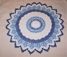 """STUNNING HAND CROCHETED DOILY NEW 19 """" WHITE, DELFT BLUE AND ROYAL BLUE"""