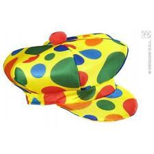 Multicolore Berretto Piatto Cappello CLOWN CIRCO HALLOWEEN FANCY DRESS ACCESSORIO