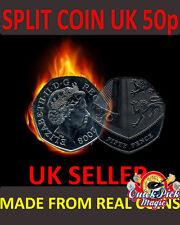 Close Up Magic 50 Pence Split Coin - 50p Clone Coin Magic Trick - Coin Thru Bag
